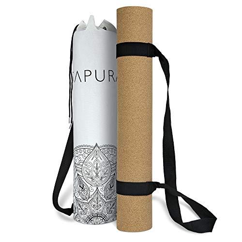 SAPURA rutschfeste Yogamatte XXL - Kork Naturkautschuk Yoga Matte mit Tragegurt & Tasche - 190 cm lang - Öko XL Jogamatte