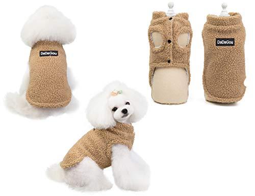 Tineer Pet Doggy Winter Lamm Kaschmir Mantel Warme Outdoor Fleece Hundefleece Futter Pullover Jacke Weste für kleine mittelgroße Hunde, XL, Khaki (Hell Braun)