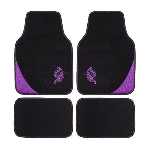 Flying Banner Auto-Fußmatten-Set mit lila bestickten Schmetterlingsmatten, Schwarz, 4-teiliges Set