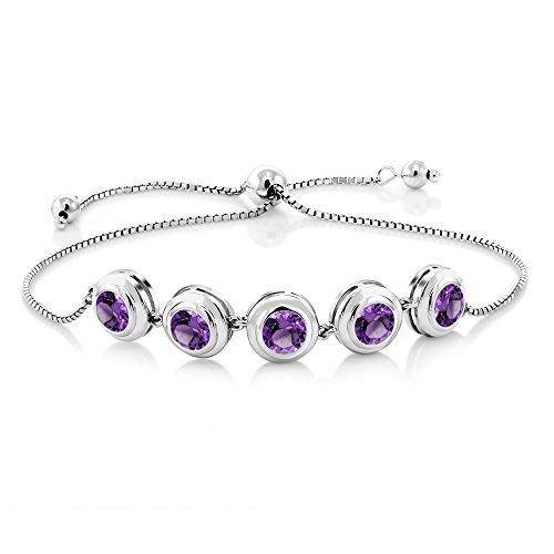 Gem Stone King 925 Sterling Silver Purple Amethyst Adjustable Tennis Bracelet 3.50 Cttw Gemstone Birthstone Round Cut 6MM