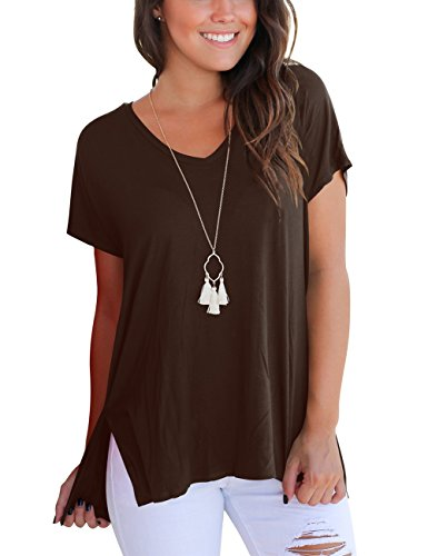 Aokosor Women T Shirts Short Sleeve Cotton Blouse Tops Loose Fit Plus Size Coffee XL