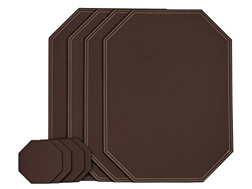 Nikalaz Set of Large Brown Octagon Placemats and Coasters, 4 Table Mats and 4 Coasters, Place mats 18'' x 13'' and Coasters 3.94'' x 3.94'', Recycled Leather, Dining Table Set Made in Europe