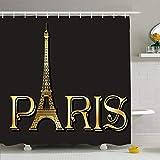 Duschvorhang Set mit Haken Eiffelturm Inschrift Paris
