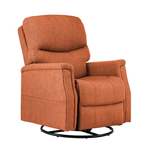 eclife Massage Recliner Chair with Lumbar Heating, 360 Degree Swivel& Rocking, Ergonomic Lounge Chair, Reclining Sofa for Living Room, Side Pocket, Remote Control (Orange+Fabric, Swivel+Rocking)