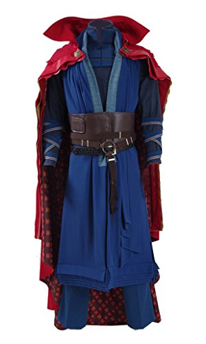 2016 Hot Movie Doctor Costume Blue Heavy Robe and Red Cloak Cosplay Outfit (US Men-XL, Blue)