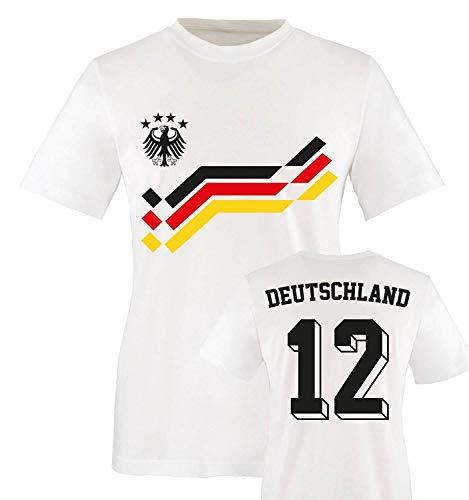 EM 2016 - Retro-Trikot - Deutschland - 12 - Kinder T-Shirt - Weiss/Schwarz-Rot-Gelb Gr. 86-92