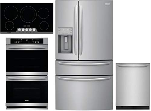 Frigidaire 4 Piece Kitchen Appliance Package with FG4H2272UF 36 French Door Refrigerator FGET3066UF 30 Electric Double Wall Oven FGEC3648US 36 Electric Cooktop and FGID2479SF 24 Built In Fully Integrated Dishwasher in Stainless Steel