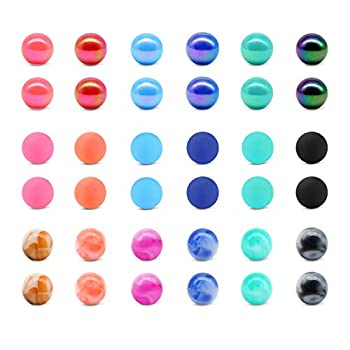JFORYOU 36PCS 14G 5mm Acrylic Replacement Balls Body Jewelry Piercing Barbell Parts Balls for Nipple Rings Tongue Rings Industrial Barbell Belly Button Rings