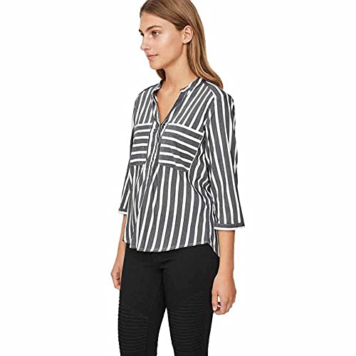 VERO MODA Damska bluzka Regular Fit VMERIKA STRIPE 3/4 koszulka E10 NOOS 10168581, czarny, XL