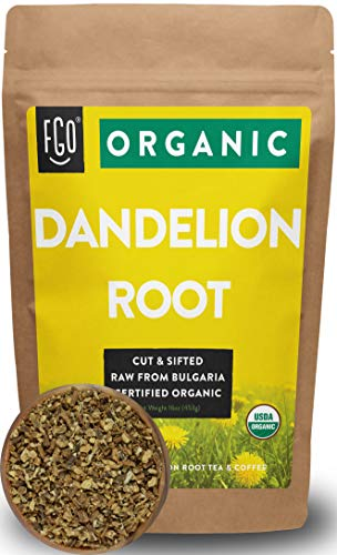 Organic Dandelion Root | Loose Tea (200+ Cups) | 16oz/453g Resealable Kraft Bag | 100% Raw From Bulgaria | by FGO