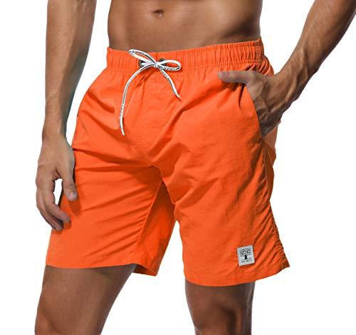 SHEKINI Herren Badehose Beach Shorts Einfarbig Board Shorts Swimming Trunks (30, Orange)