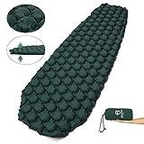 Bessport Isomatte Camping, mit 5.8cm Dicke Schlafmatte Kleines Packmaß Ultraleicht Aufblasbare Luftmatratze - Bequem 40D Ripstop Nylon Matte, ideal für Outdoor, Wandern (Grün)