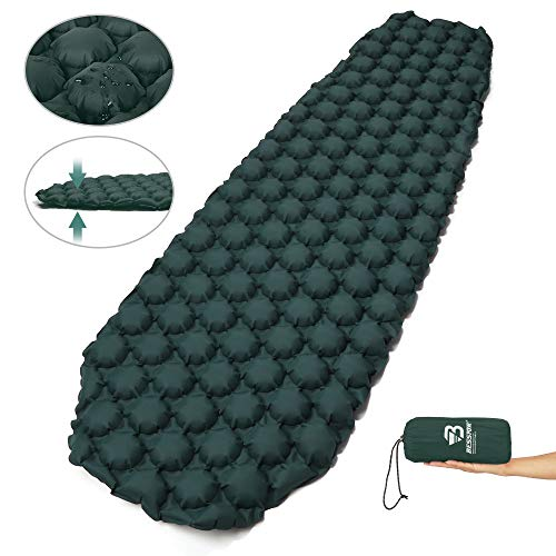 Bessport Sleeping Pad – Ultralight Inflatable Sleeping Mat, Best Self Serving Pad for Camping, Backpacking, Hiking –Carry Bag, Repair Kit – Compact & Lightweight Air Mattress (Green)