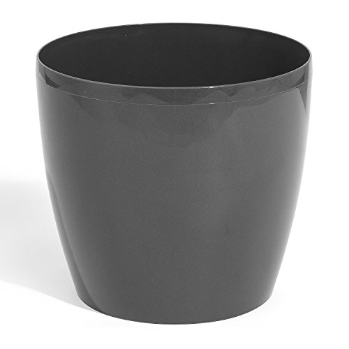 COUBI Pot de fleurs rond en plastique Anthracite Taille S 1,5 l 10 couleurs