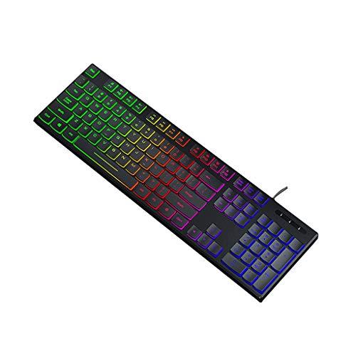 Keypad Gaming Keyboard Rainbow Backlit Ultra-Slim Wired USB Keyboard Ideal for Windows Mac Gaming Quiet Computer Keyboard Ergonomic (Color : Multi-Colored)