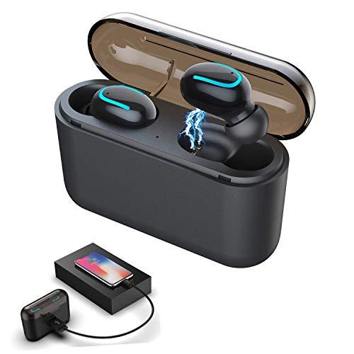 XuanPad Auriculares Bluetooth V5.0 Auriculares Inalámbricos Bluetooth Mini Twins Estéreo In-Ear con Caja de Carga Portátil Y Micrófono Integrado para iPhone y Android