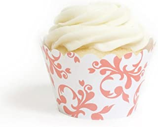 Dress My Cupcake Coral Filigree Cupcake Wrappers, Set of 12