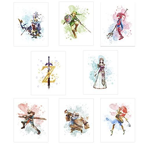 Legend Of Zelda Poster - Set of 8 ( 8'x10' ) Video Game Poster - Legend Of Zelda Wall Art Decor Prints - Zelda Posters For Boys Room, Girls Room - Kids Playroom Bedroom Decorations - UNFRAMED