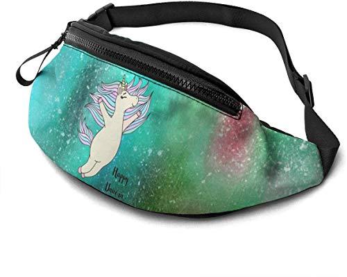 Happy Unicorn Fashion Casual Waist Bag Fanny Pack Travel Bum Bags Running Pocket for Men Women