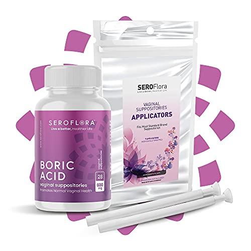 Seroflora Boric Acid Vaginal Suppository 600 mg 28 ct. + Suppository Applicator 7 ct. Bundle - Feminine Health and Wellness Essentials - Vaginal Health pH Balance for Women - Feminine Balance Complex