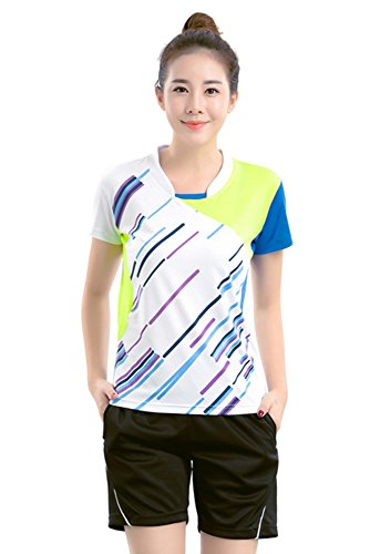 ZEVONDA Sport Sportkleidung Sweatshirt Outfit Trainingsanzug Badminton-Kleidung Anzug 2 PCS, Weiß-Damen, EU M = Tag L