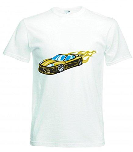 Camiseta con texto en alemán 'Schöner Sportwagen gelb mit gelben Flammen Modena America Amy USA Auto Car Breitbau V8 V12 Motor Llanta Tuning Mustang Cobra para hombres damas de niños - 104-5XL' Blanco Mujer Gr.: S