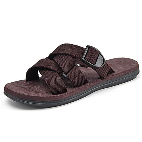 LINGYANMM Novedad Sandalias de verano ajustables for los hombres Deslice el deslizamiento en los zapatos Cinturón de hebilla tejida y elasticfabric ANFETAMINO ABIERTO POTO PISO PISO PISO SOLADO SOLICI