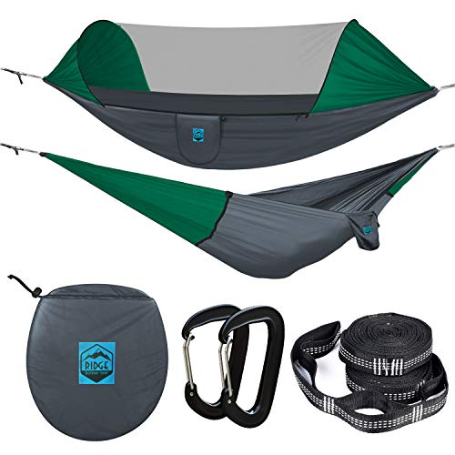 Ridge Outdoor Gear Camping Hammock with Mosquito Net - Ripstop Nylon - Ultralight Hammock Tent Bundle with Bug Netting, Straps, Carabiners (Grey/Green Ripstop, Large)
