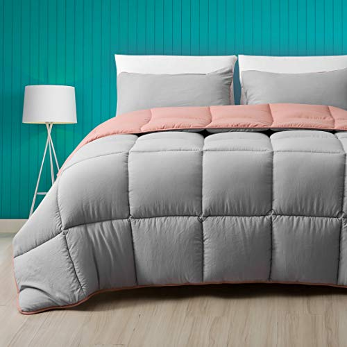 Cobnom All Season Reversible Down Alternative Comforter, 3-Piece Luxury Ultra-Soft Cloud Breathable Microfiber Comforter Duvet Set with Shams (Full/Queen, Forest Grey/Rose Red)