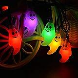 Kwock Halloween Fantasma Solare Stringa Luci a Due modalità 4.8m 20 LED Lanterne 3D per Esterni, Cosplay, Feste a Tema e Decorazioni per la Casa