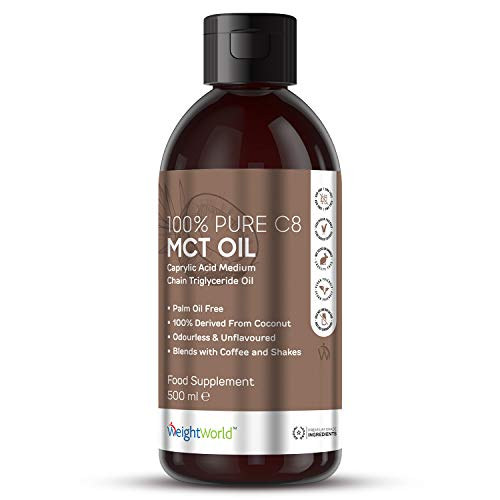 500ml MCT Oil - 100% Pure C8 MCT Oil, Coconut Oil Source, Ideal Liquid Keto Diet Supplement, Exogenous Ketone, Carb Free, Sugar Free, Unflavoured, Vegan-Friendly - by WeightWorld