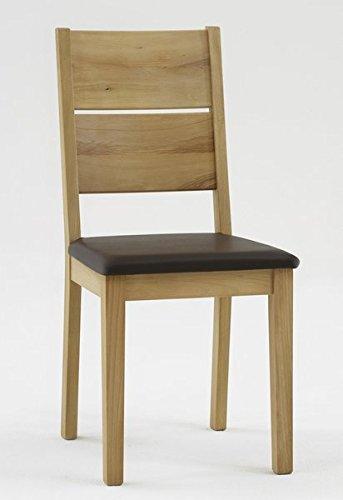 2x Stuhl ROM-G mit braunem Sitzpolster, Kernbuche Massiv geölt