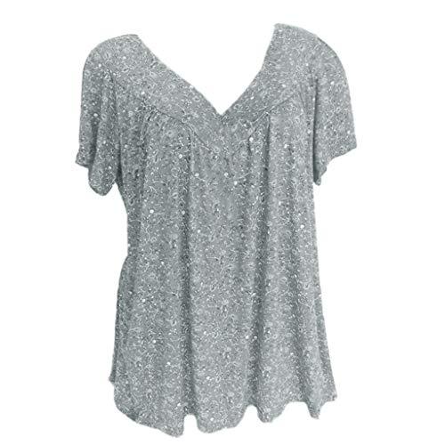 ESAILQ Damen Collection Damen Tagless T-Shirt Basic mit V-Ausschnitt(S,Schwarz)