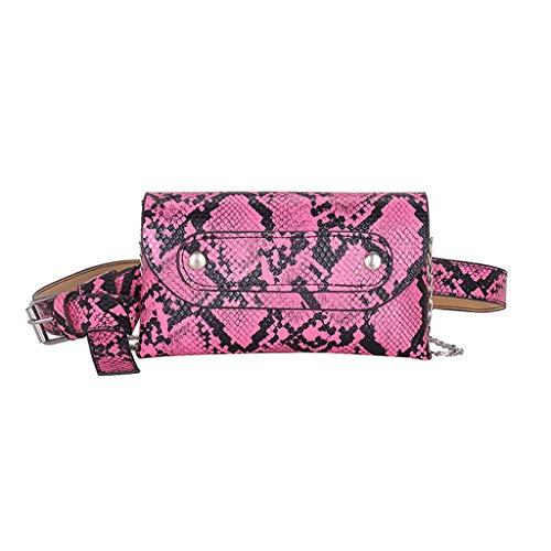 qingqingR Moda Patrón de Piel de Serpiente Riñonera Mujeres PU Cuero Cinturón Cadena Bolso de Hombro Cofre Bolso de Mano
