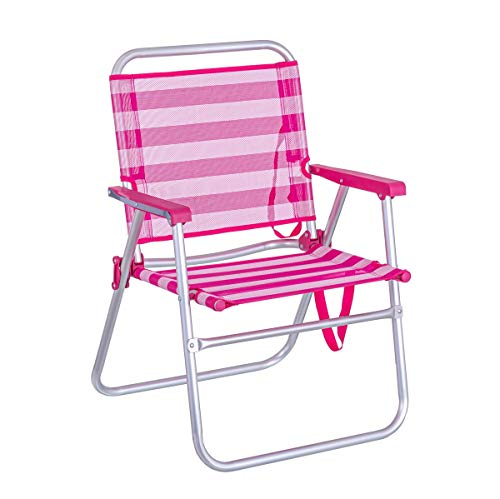 LOLAhome Silla de Playa Plegable Fija de Aluminio y textileno (Rosa y Blanco)
