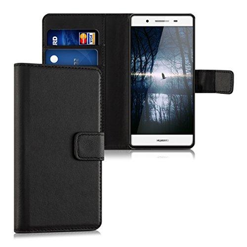 Huawei GR3 / P8 Lite SMART Hülle - Kunstleder Wallet Case für Huawei GR3 / P8 Lite SMART mit Kartenfächern und Stand - Schwarz
