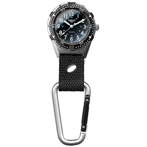 Dakota Watch Company Men's Aluminum Backpacker Clip Watch, Black (28446)