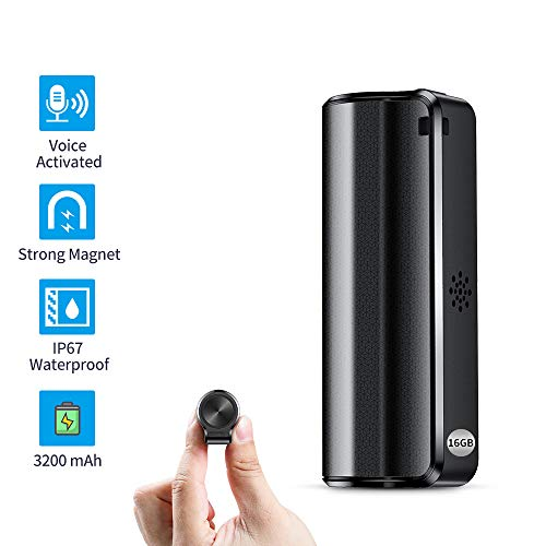 16GB Magnetic Mini Voice Activated Recorder, 3200mAh - 19Days Battery Recording Time, Micro Waterproof Recorder Device Ideal for Lessons, Meetings, Interviews