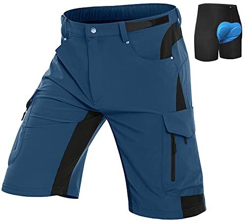Vzteek Herren MTB Hose Fahrradhose mit Gepolstert, Schnelltrocknende MTB Shorts Mountainbike Hose Herren