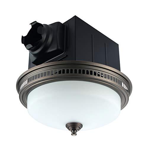 Ultra Quiet 110 CFM Round Exhaust Bathroom Fan with Light and Nightlight Bronze (3x13W GU24 Base CFL...