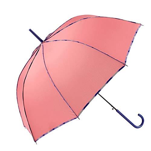 GOTTA Paraguas Largo de Mujer. Antiviento y automático, con Forma cúpula. Vivo Estampado y Tejido Liso - Rosa
