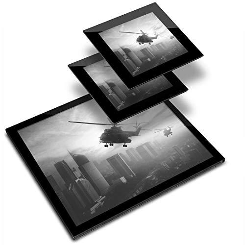 Destination - Mantel individual de vinilo (cristal, 20 x 25 cm, 2 posavasos de 10 x 10 cm), diseño de helicóptero Apache