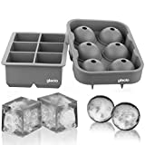 glacio Ice Cube Trays Silicone Combo Ice Molds - Set of 2, Sphere Ice Ball Maker with Lid & Large Square Molds, Reusable and BPA Free