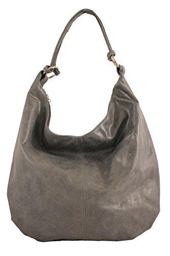 Chicca Tutto Moda CTM Borsa da Donna da Spalla, Sacca in pelle, 45x35x4cm, Vera pelle 100% Made in Italy