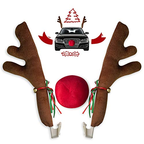 Car Christmas Reindeer Antler Decorations, Vehicle Christmas Car Decor Kit with Jingle Bells Rudolph Reindeer and Red Nose, Auto Accessories Decoration Kit Best for Car SUV Van Truck, Xmas Gift Set