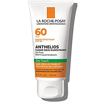 La Roche-Posay Anthelios Clear Skin Dry Touch Sunscreen Broad Spectrum SPF 60 Oil Free Face Sunscreen Non-Greasy Oxybenzone Free 1.7 Fl Oz