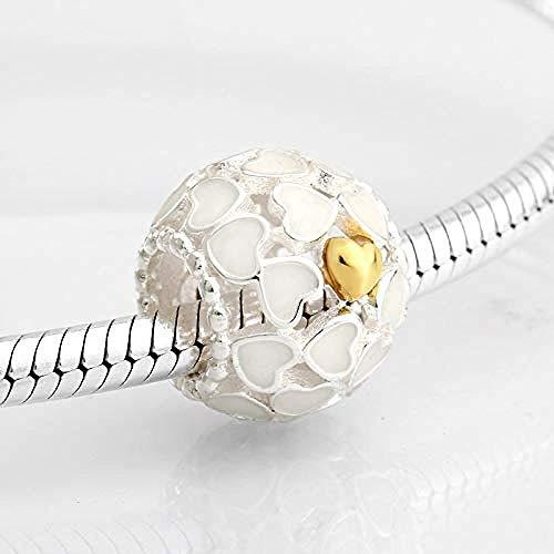 Zilveren bedels met kralen, mode 925 sterling zilver dramatisch wit email hart plating gouden armband sieraden maken Diy beste cadeau voor meisjes tieners Diy beste cadeau voor meisjes tieners