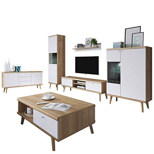 Mirjan24  Wohnzimmer Primo I, Elegantes Wohnzimmer-Set im skandinavischen Stil, Kommode, Couchtische, TV Lowboard und Zwei Vitrine, Komplett (mit Weißer LED Beleuchtung, Riviera Eiche/Weiß)
