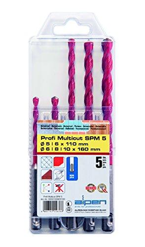 ALPEN HM-Universalbohrer-Satz Profi-Multicut SDS-Plus 5-10 mm 5-teilig