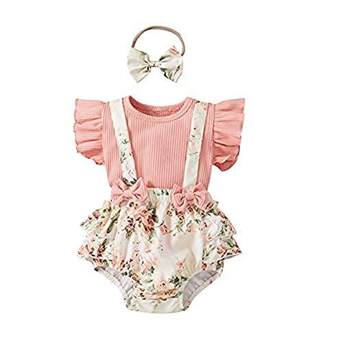 Hblduninte Infant Baby Girl - Conjunto de ropa de verano con volantes y mangas voladoras, body + pantalones cortos + cinta para la cabeza Rosa. 3-6 Meses